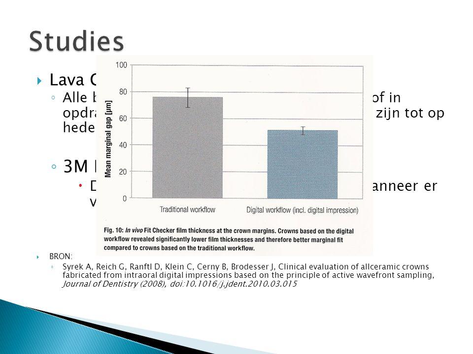  Lava C.O.S: ◦ Alle beschikbare studies zijn uitgevoerd door of in opdracht van 3M ESPE. Onafhankelijke studies zijn tot op heden nog niet beschikbaa