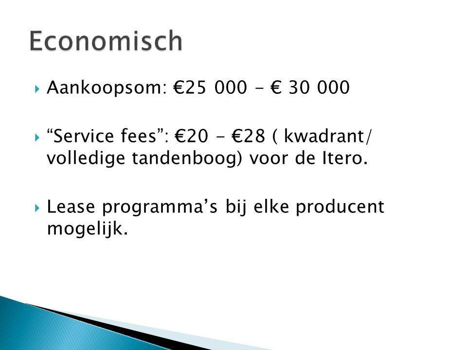 """ Aankoopsom: €25 000 - € 30 000  """"Service fees"""": €20 - €28 ( kwadrant/ volledige tandenboog) voor de Itero.  Lease programma's bij elke producent m"""