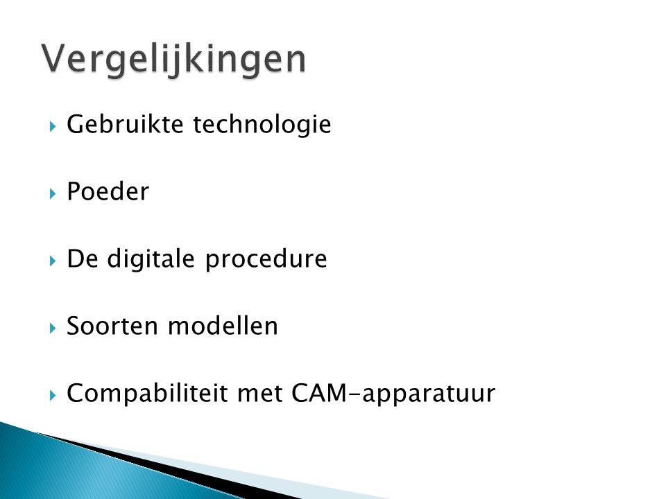  Gebruikte technologie  Poeder  De digitale procedure  Soorten modellen  Compabiliteit met CAM-apparatuur