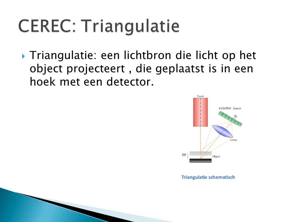  Triangulatie: een lichtbron die licht op het object projecteert, die geplaatst is in een hoek met een detector.