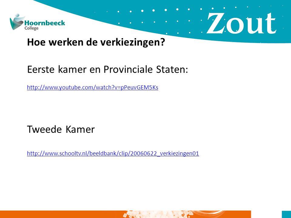 Hoe werken de verkiezingen? Eerste kamer en Provinciale Staten: http://www.youtube.com/watch?v=pPeuvGEM5Ks Tweede Kamer http://www.schooltv.nl/beeldba