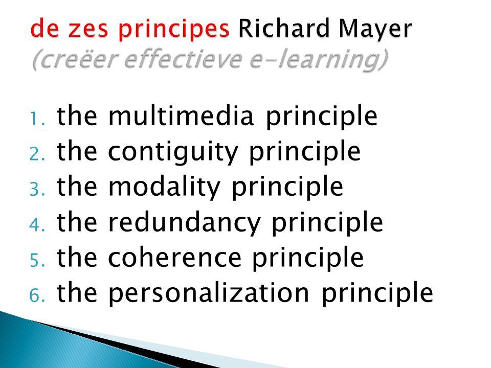 1. the multimedia principle 2. the contiguity principle 3. the modality principle 4. the redundancy principle 5. the coherence principle 6. the person