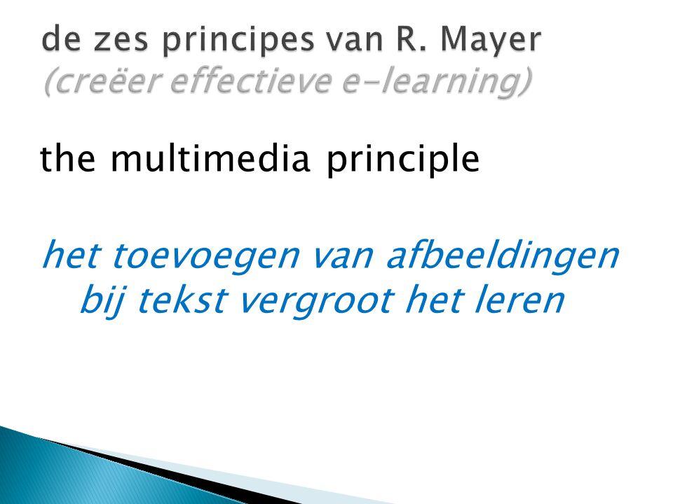 the multimedia principle het toevoegen van afbeeldingen bij tekst vergroot het leren