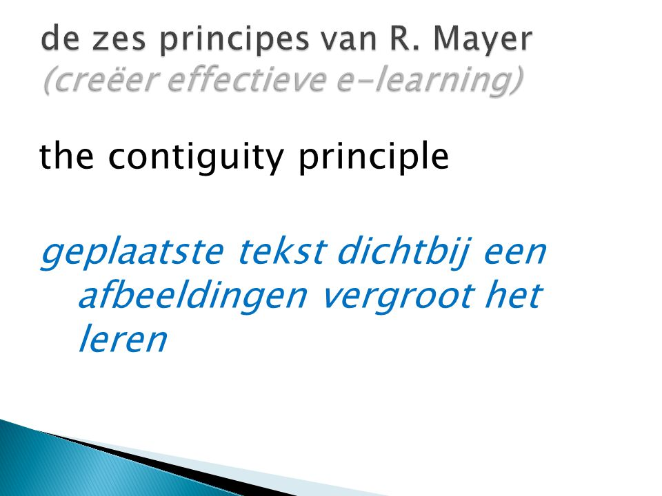 the contiguity principle geplaatste tekst dichtbij een afbeeldingen vergroot het leren