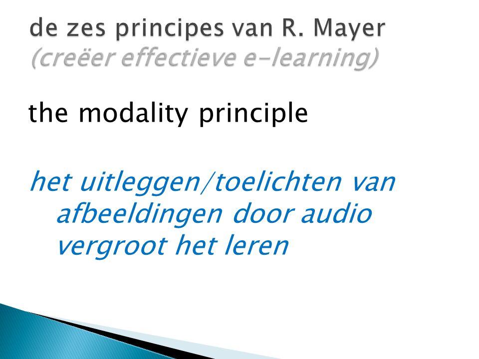 the modality principle het uitleggen/toelichten van afbeeldingen door audio vergroot het leren