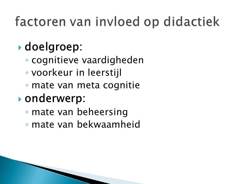  doelgroep: ◦ cognitieve vaardigheden (in hoeverre is de lerende in staat om te leren?) ◦ voorkeur in leerstijl (wat is de cultuur van de lerende en zijn organisatie?) ◦ mate van meta cognitie (in hoeverre is de lerende in staat zijn eigen leerproces te sturen?)