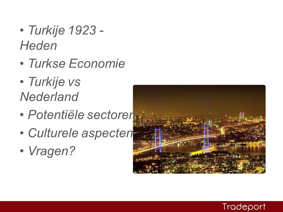 • Turkije 1923 - Heden • Turkse Economie • Turkije vs Nederland • Potentiële sectoren • Culturele aspecten • Vragen?