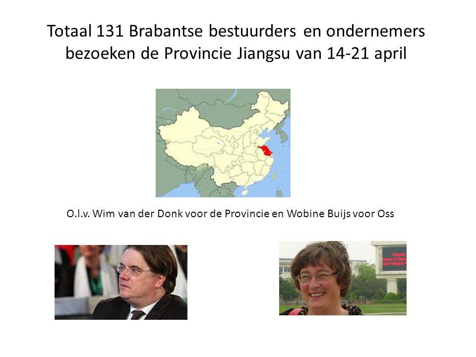 Totaal 131 Brabantse bestuurders en ondernemers bezoeken de Provincie Jiangsu van 14-21 april O.l.v. Wim van der Donk voor de Provincie en Wobine Buij