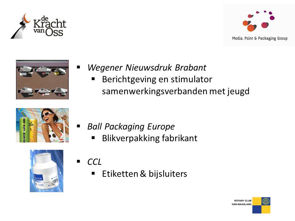  Wegener Nieuwsdruk Brabant  Berichtgeving en stimulator samenwerkingsverbanden met jeugd  Ball Packaging Europe  Blikverpakking fabrikant  CCL 