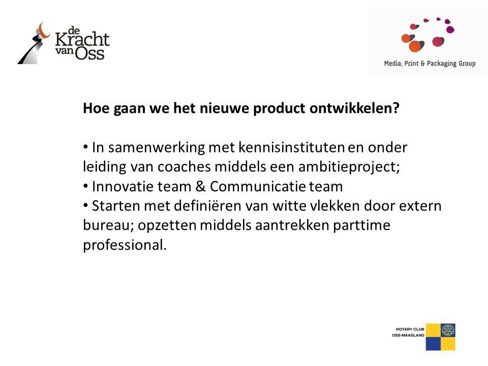 Hoe gaan we het nieuwe product ontwikkelen? • In samenwerking met kennisinstituten en onder leiding van coaches middels een ambitieproject; • Innovati