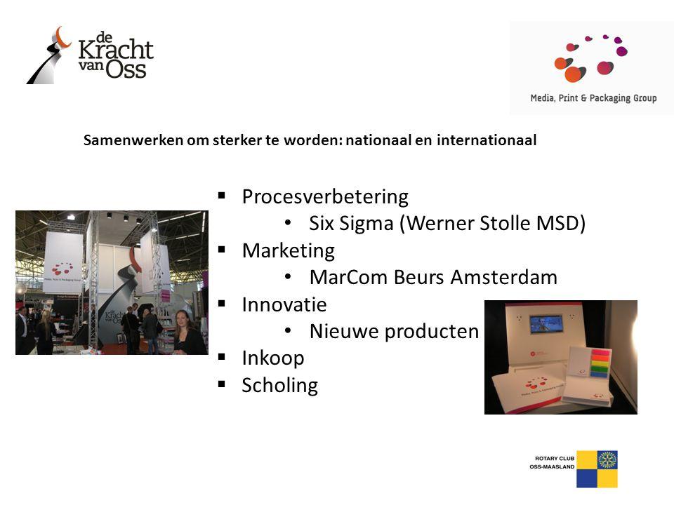  Procesverbetering • Six Sigma (Werner Stolle MSD)  Marketing • MarCom Beurs Amsterdam  Innovatie • Nieuwe producten  Inkoop  Scholing Samenwerke