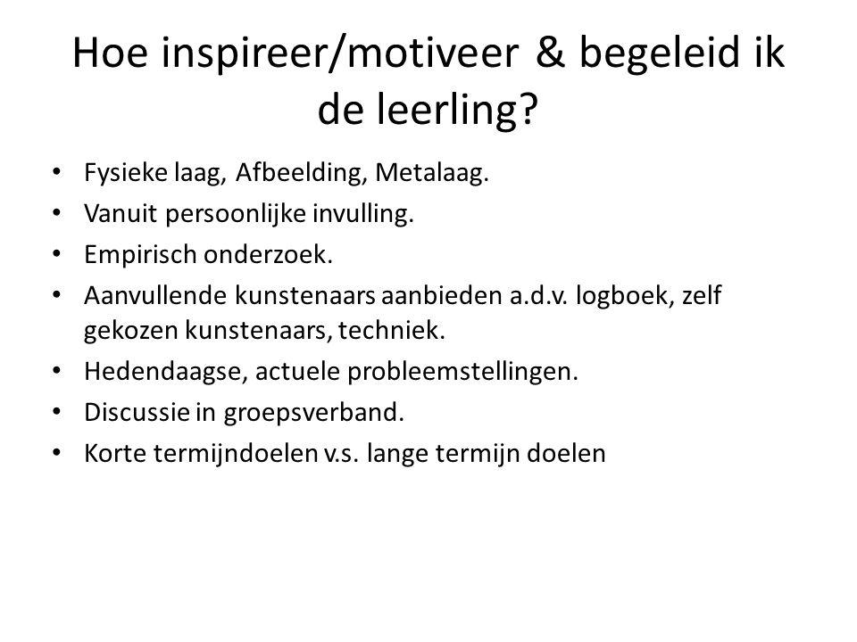 Hoe inspireer/motiveer & begeleid ik de leerling? • Fysieke laag, Afbeelding, Metalaag. • Vanuit persoonlijke invulling. • Empirisch onderzoek. • Aanv