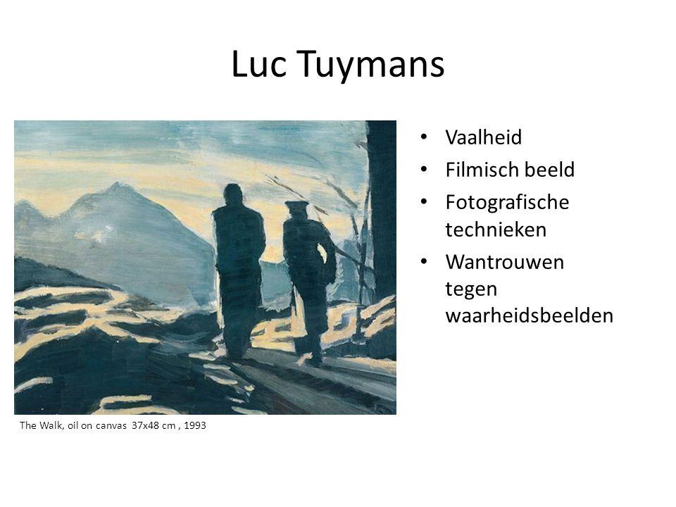 Luc Tuymans • Vaalheid • Filmisch beeld • Fotografische technieken • Wantrouwen tegen waarheidsbeelden The Walk, oil on canvas 37x48 cm, 1993