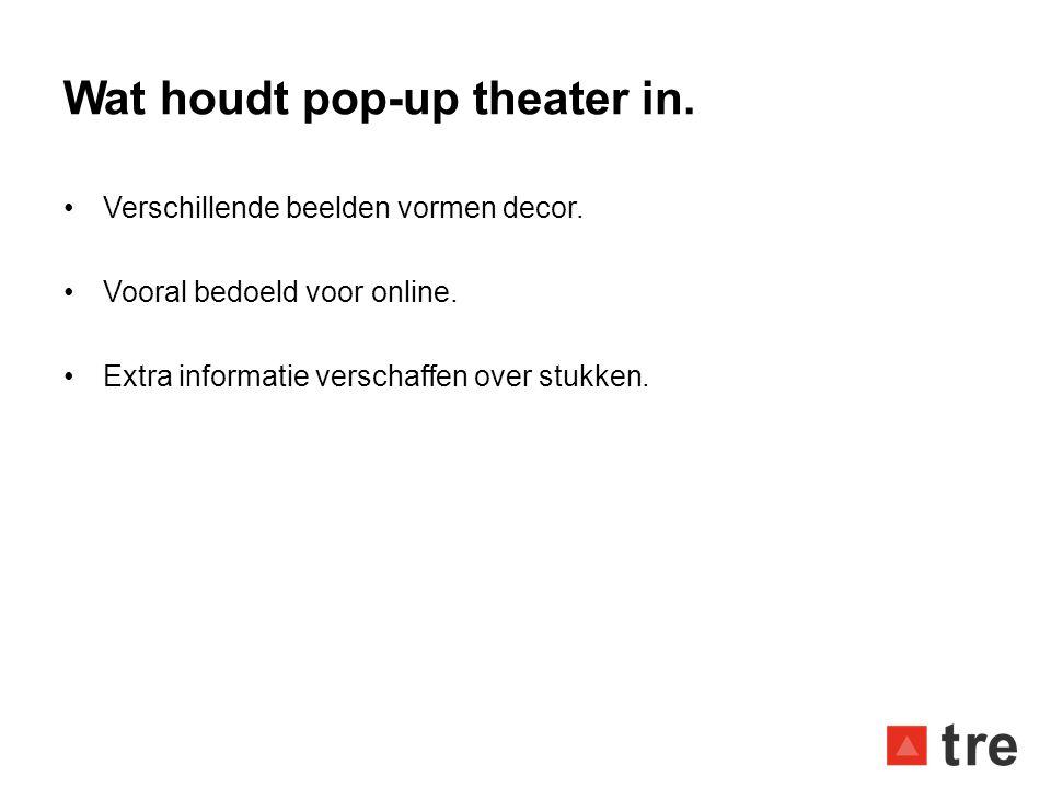 Wat houdt pop-up theater in. •Verschillende beelden vormen decor. •Vooral bedoeld voor online. •Extra informatie verschaffen over stukken.
