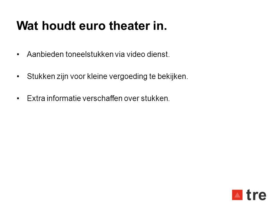 Wat houdt euro theater in. •Aanbieden toneelstukken via video dienst. •Stukken zijn voor kleine vergoeding te bekijken. •Extra informatie verschaffen