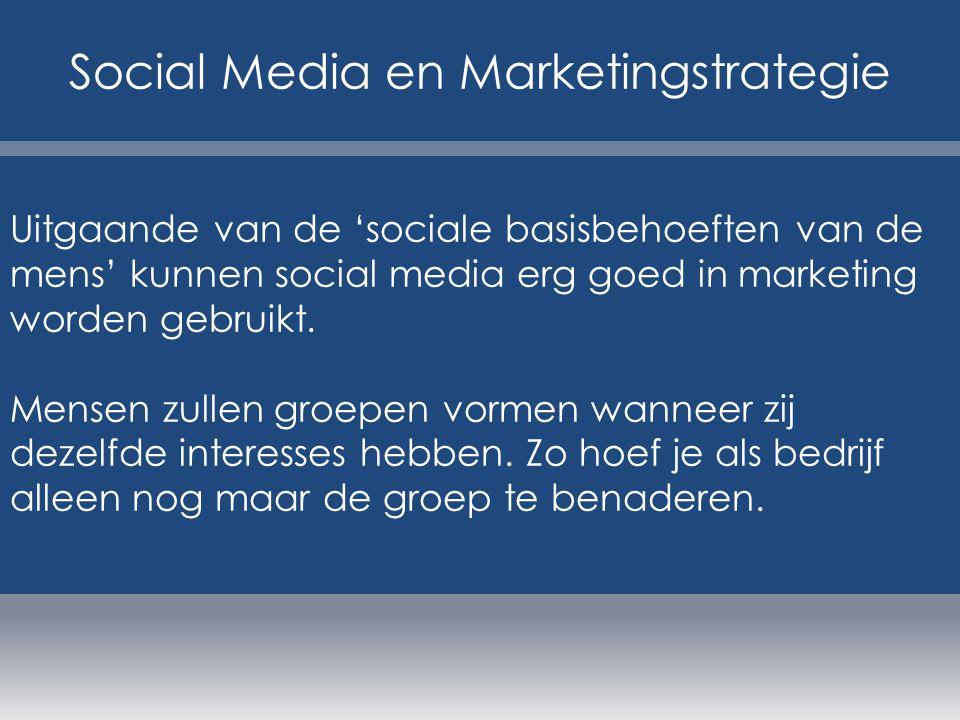 Uitgaande van de 'sociale basisbehoeften van de mens' kunnen social media erg goed in marketing worden gebruikt. Mensen zullen groepen vormen wanneer