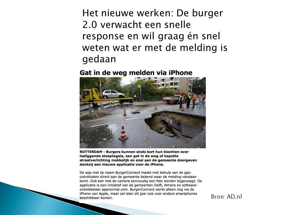 Het nieuwe werken: De burger 2.0 verwacht een snelle response en wil graag én snel weten wat er met de melding is gedaan Bron: AD.nl