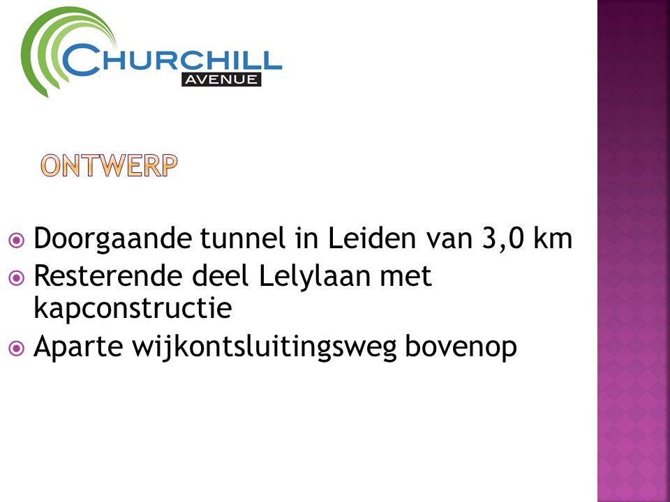  Doorgaande tunnel in Leiden van 3,0 km  Resterende deel Lelylaan met kapconstructie  Aparte wijkontsluitingsweg bovenop