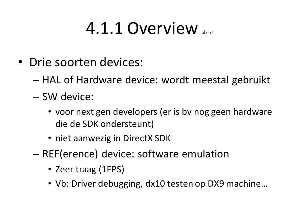 4.1.1 Overview blz 67 • Drie soorten devices: – HAL of Hardware device: wordt meestal gebruikt – SW device: • voor next gen developers (er is bv nog g