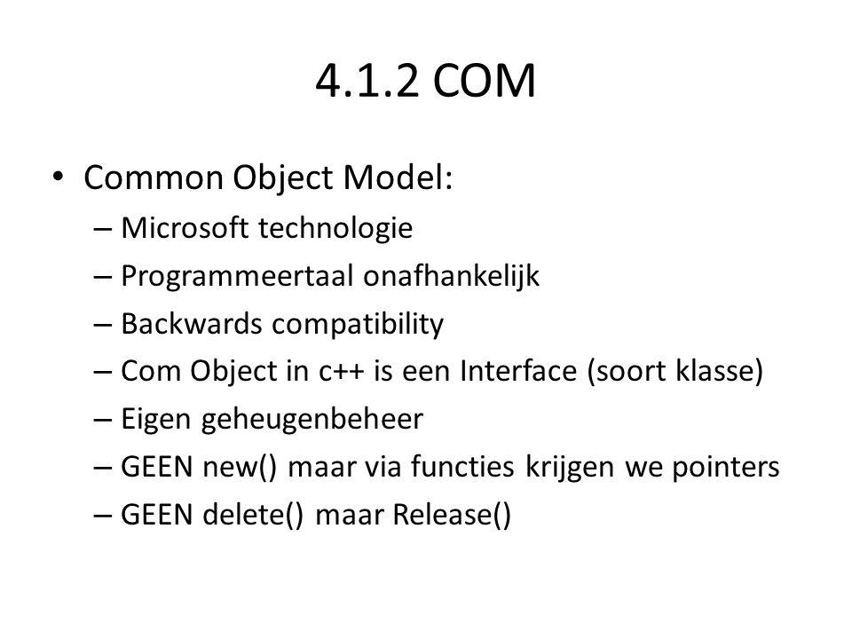 4.1.2 COM • Common Object Model: – Microsoft technologie – Programmeertaal onafhankelijk – Backwards compatibility – Com Object in c++ is een Interfac