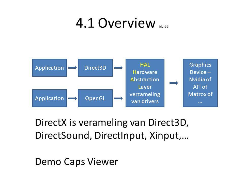 4.1.1 Overview blz 67 • Drie soorten devices: – HAL of Hardware device: wordt meestal gebruikt – SW device: • voor next gen developers (er is bv nog geen hardware die de SDK ondersteunt) • niet aanwezig in DirectX SDK – REF(erence) device: software emulation • Zeer traag (1FPS) • Vb: Driver debugging, dx10 testen op DX9 machine…