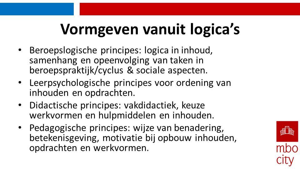 Vormgeven vanuit logica's • Beroepslogische principes: logica in inhoud, samenhang en opeenvolging van taken in beroepspraktijk/cyclus & sociale aspecten.