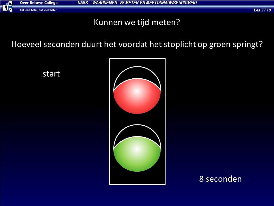 NASK – WAARNEMEN VS METEN EN MEETONNAUWKEURIGHEID Kunnen we tijd meten? Hoeveel seconden duurt het voordat het stoplicht op groen springt? start 8 sec