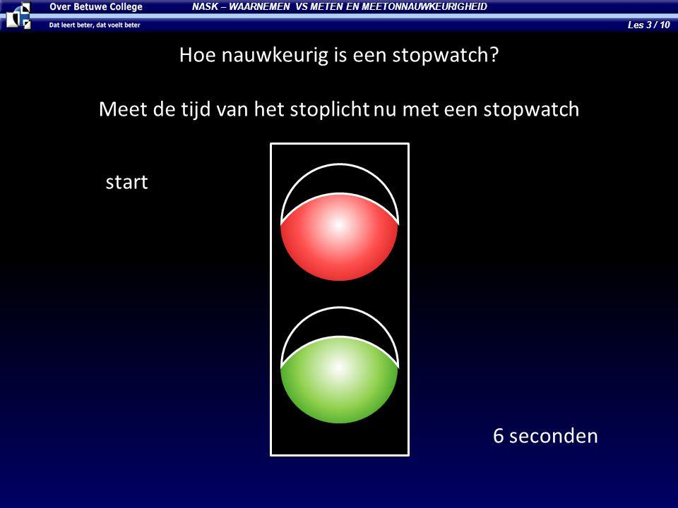 NASK – WAARNEMEN VS METEN EN MEETONNAUWKEURIGHEID Hoe nauwkeurig is een stopwatch? Meet de tijd van het stoplicht nu met een stopwatch start 6 seconde