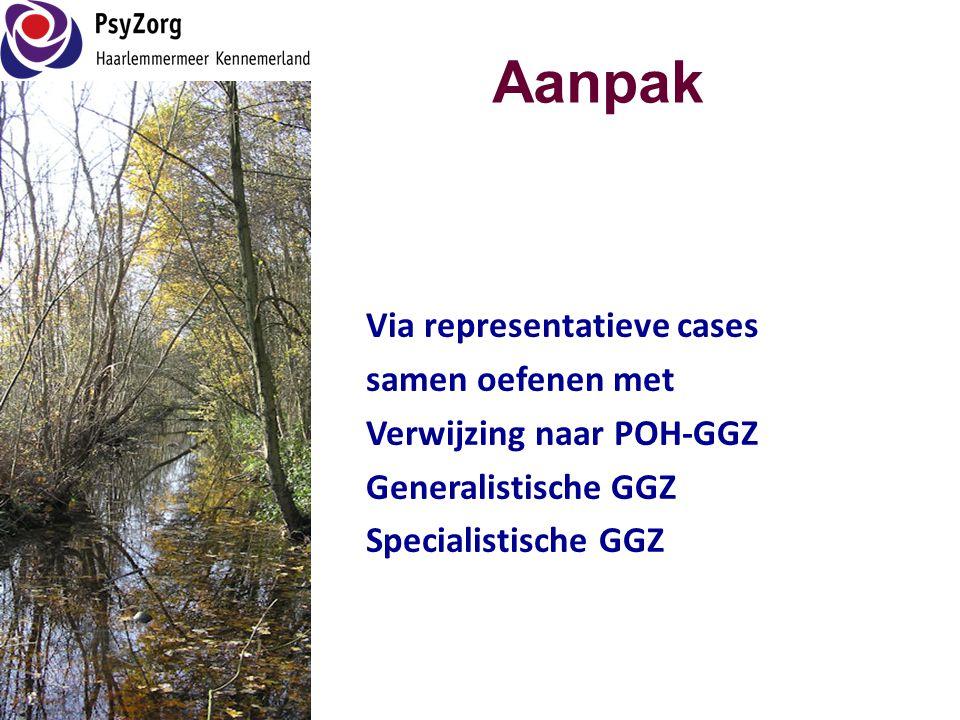 Aanpak Via representatieve cases samen oefenen met Verwijzing naar POH-GGZ Generalistische GGZ Specialistische GGZ