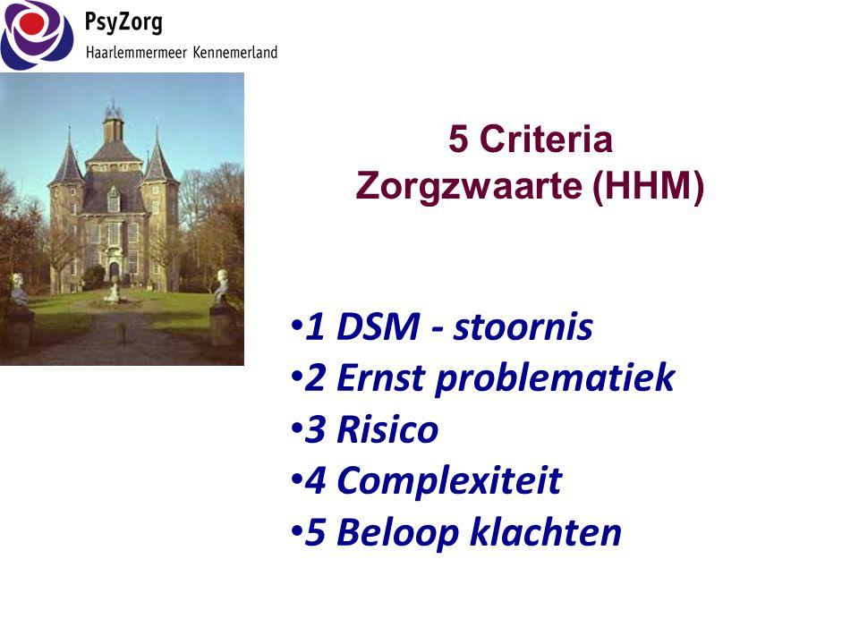 5 Criteria Zorgzwaarte (HHM) • 1 DSM - stoornis • 2 Ernst problematiek • 3 Risico • 4 Complexiteit • 5 Beloop klachten