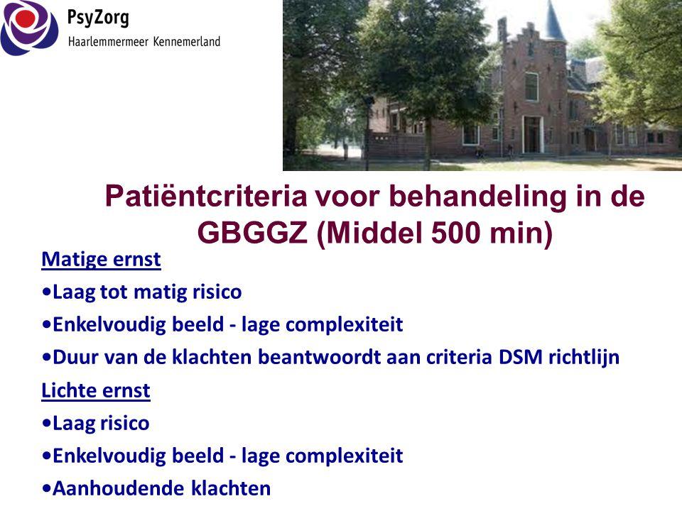 Patiëntcriteria voor behandeling in de GBGGZ (Middel 500 min) Matige ernst •Laag tot matig risico •Enkelvoudig beeld - lage complexiteit •Duur van de