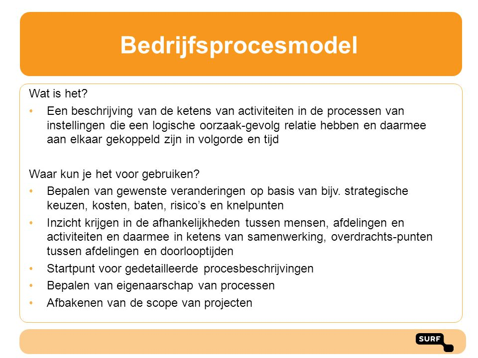 Bedrijfsprocesmodel Wat is het? •Een beschrijving van de ketens van activiteiten in de processen van instellingen die een logische oorzaak-gevolg rela