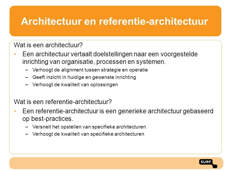 Architectuur en referentie-architectuur Wat is een architectuur? •Een architectuur vertaalt doelstellingen naar een voorgestelde inrichting van organi