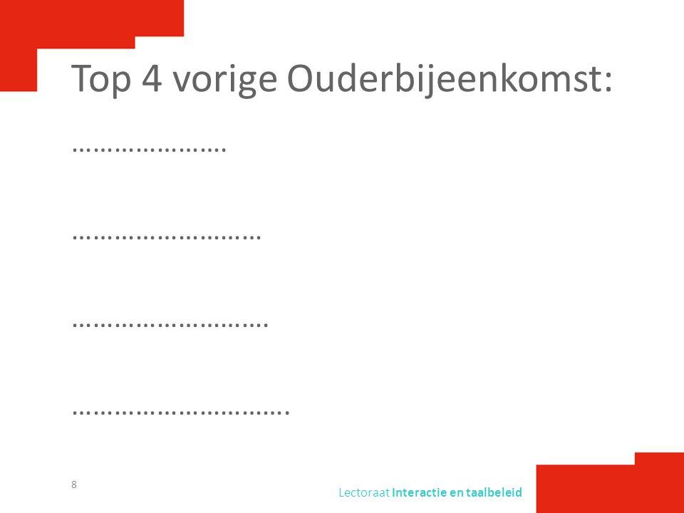 Lectoraat Interactie en taalbeleid Top 4 vorige Ouderbijeenkomst: ………………….