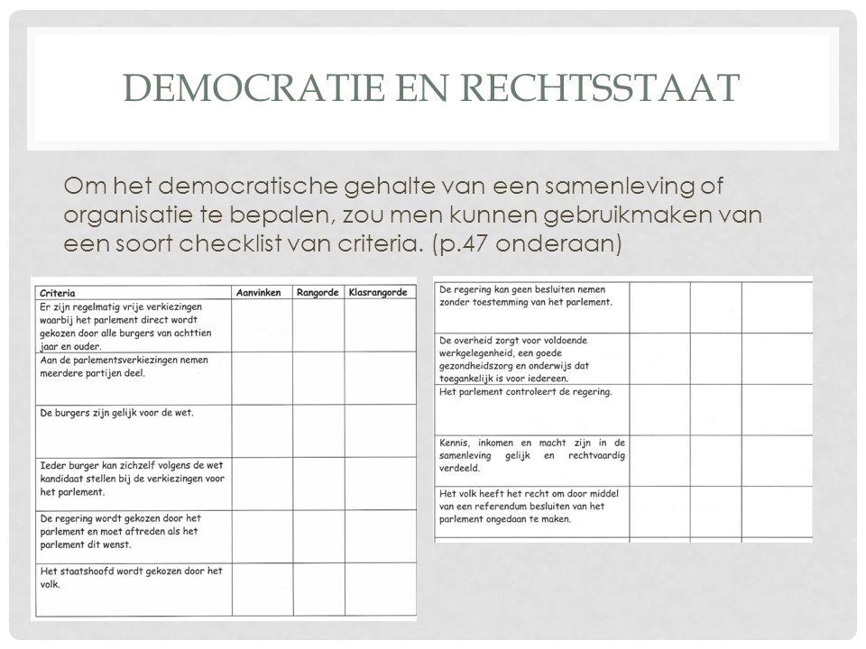 DEMOCRATIE EN RECHTSSTAAT Om het democratische gehalte van een samenleving of organisatie te bepalen, zou men kunnen gebruikmaken van een soort checklist van criteria.