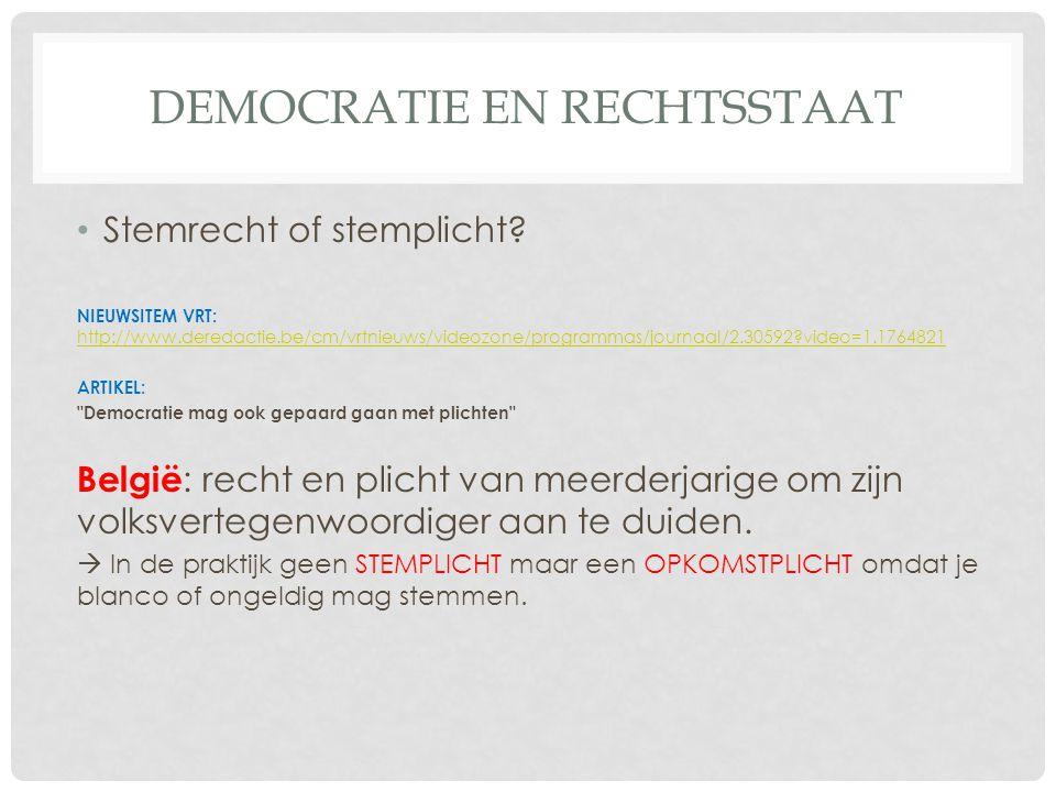 DEMOCRATIE EN RECHTSSTAAT • Stemrecht of stemplicht.