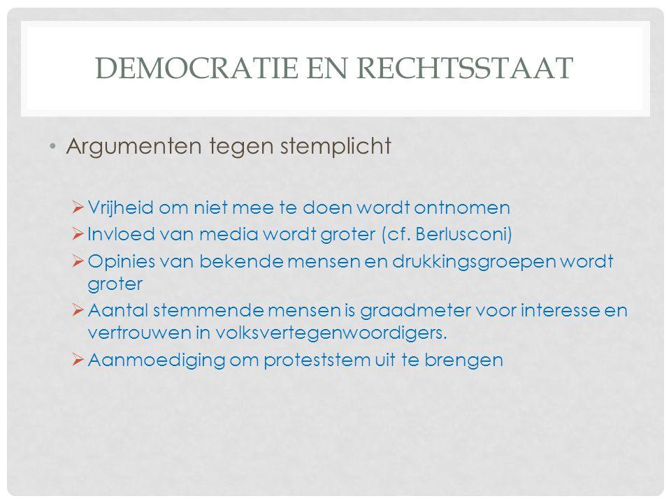DEMOCRATIE EN RECHTSSTAAT • Argumenten tegen stemplicht  Vrijheid om niet mee te doen wordt ontnomen  Invloed van media wordt groter (cf.