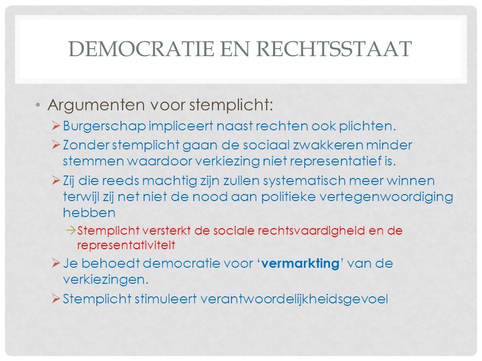 DEMOCRATIE EN RECHTSSTAAT • Argumenten voor stemplicht:  Burgerschap impliceert naast rechten ook plichten.