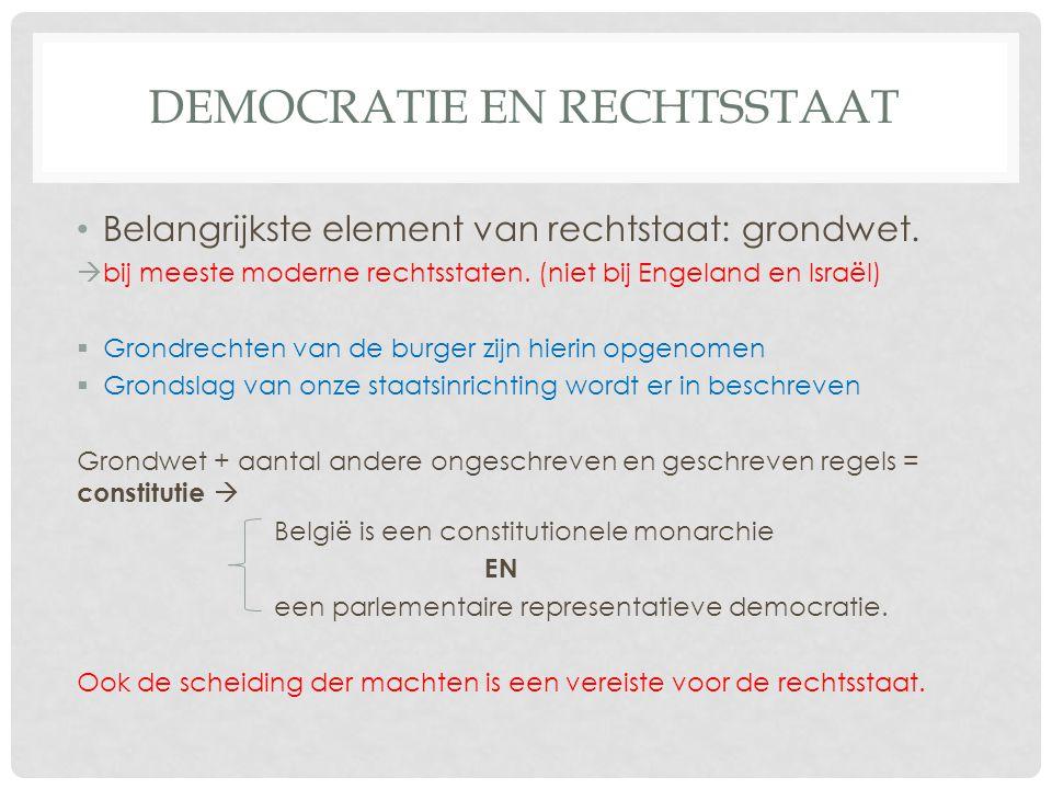 DEMOCRATIE EN RECHTSSTAAT • Belangrijkste element van rechtstaat: grondwet.