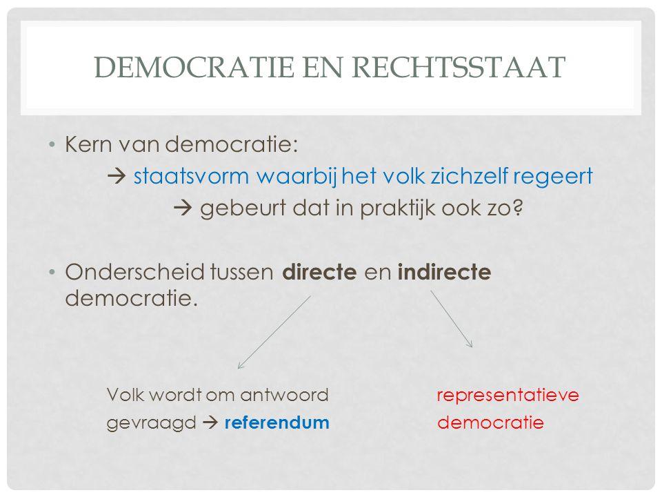 DEMOCRATIE EN RECHTSSTAAT • Kern van democratie:  staatsvorm waarbij het volk zichzelf regeert  gebeurt dat in praktijk ook zo.