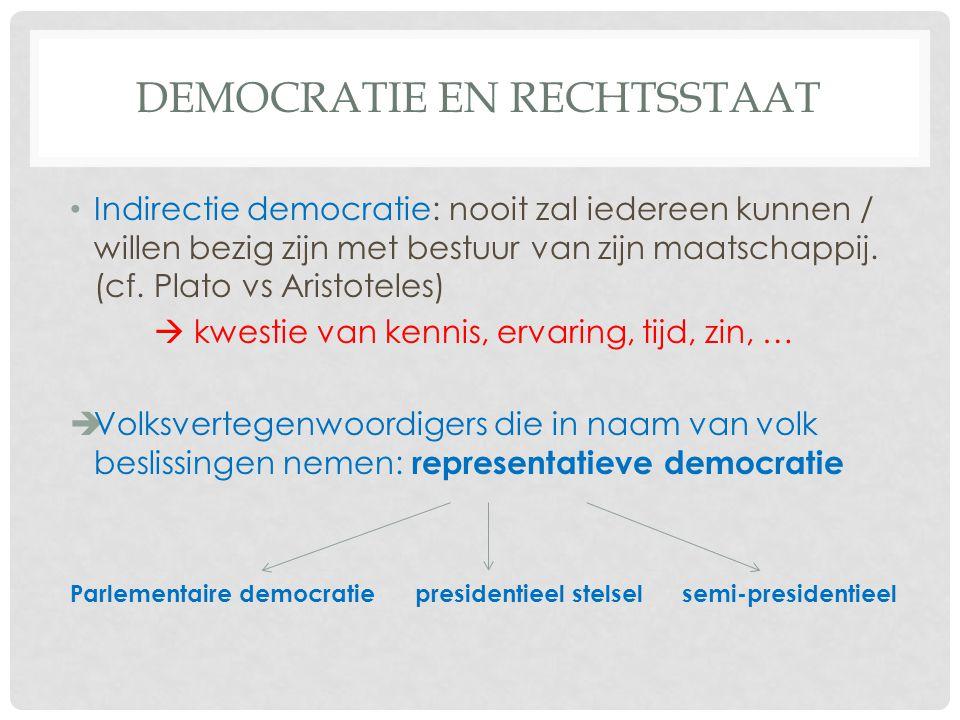 DEMOCRATIE EN RECHTSSTAAT • Indirectie democratie: nooit zal iedereen kunnen / willen bezig zijn met bestuur van zijn maatschappij.