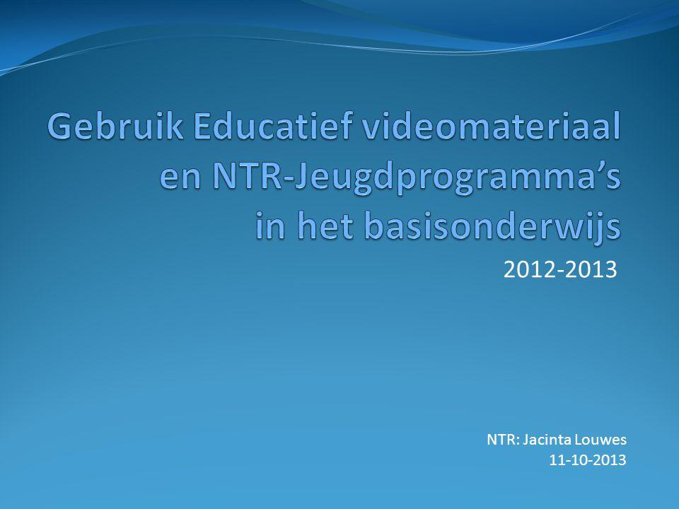 Gebruikersonderzoek NTR  Thuiskijkers: SKO cijfers  Kijken op school:leerkrachten  In het BO online: 2x/jr  Basisvragenlijst, aangevuld met ad hoc vragen.