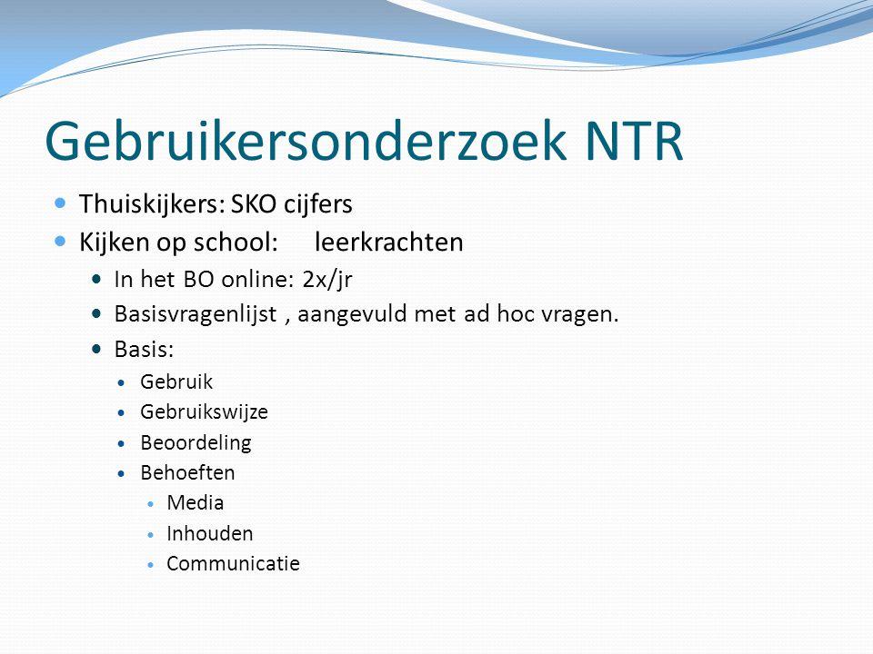 Gebruikersonderzoek NTR  Thuiskijkers: SKO cijfers  Kijken op school:leerkrachten  In het BO online: 2x/jr  Basisvragenlijst, aangevuld met ad hoc