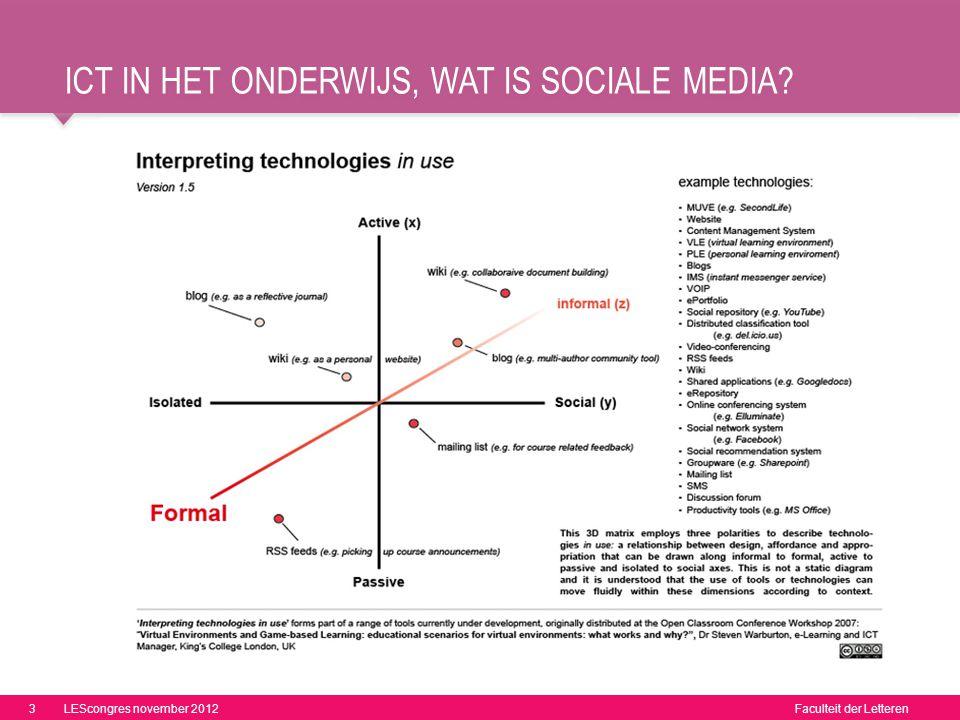 Faculteit der Letteren ICT IN HET ONDERWIJS, WAT IS SOCIALE MEDIA? 3LEScongres november 2012