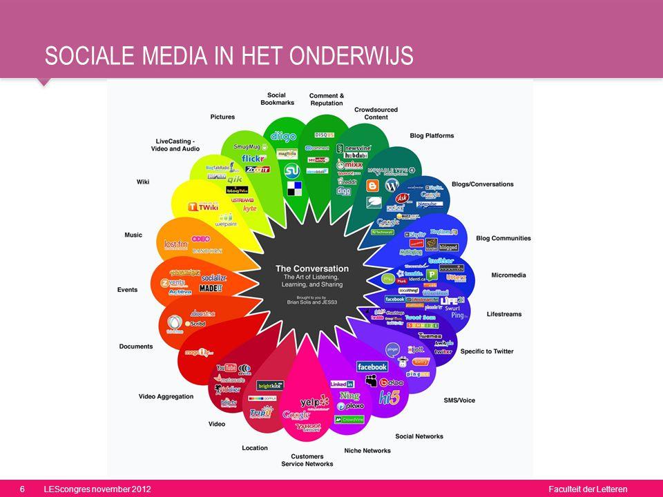 Faculteit der Letteren SOCIALE MEDIA IN HET ONDERWIJS 6LEScongres november 2012