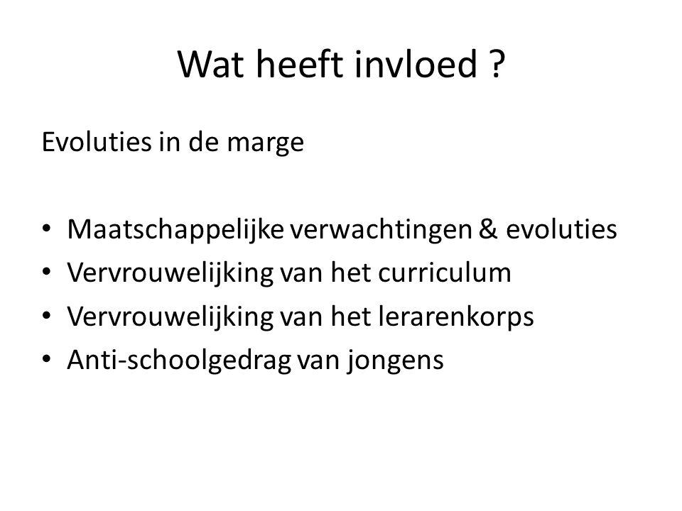 Wat heeft invloed ? Evoluties in de marge • Maatschappelijke verwachtingen & evoluties • Vervrouwelijking van het curriculum • Vervrouwelijking van he