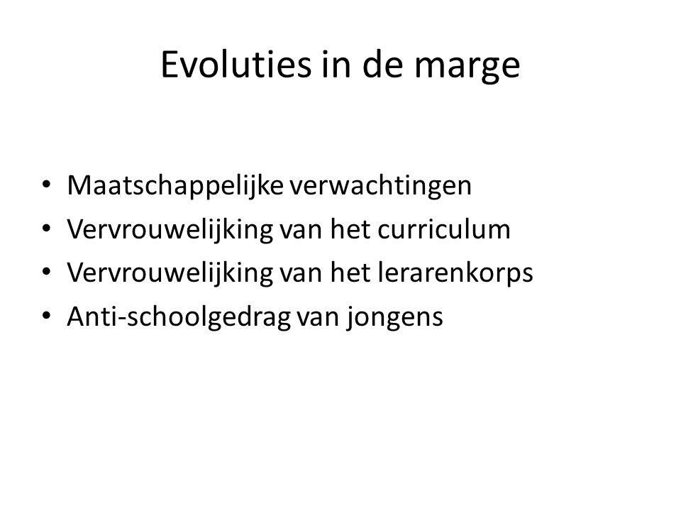 Evoluties in de marge • Maatschappelijke verwachtingen • Vervrouwelijking van het curriculum • Vervrouwelijking van het lerarenkorps • Anti-schoolgedr