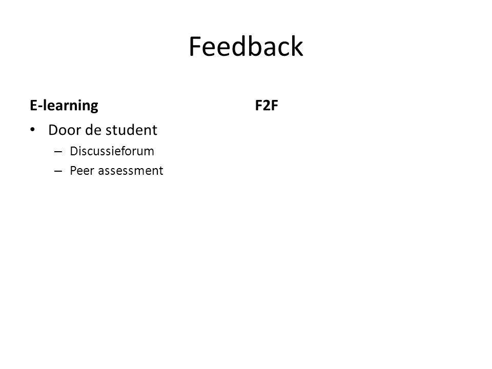 Feedback E-learning • Door de student – Discussieforum – Peer assessment F2F