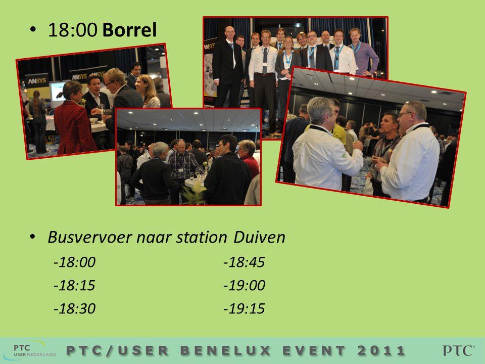• 18:00 Borrel • Busvervoer naar station Duiven -18:00 -18:45 -18:15-19:00 -18:30 -19:15