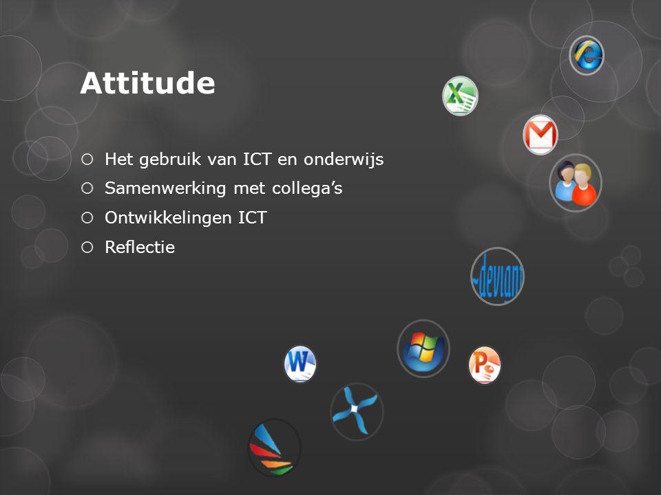 Attitude  Het gebruik van ICT en onderwijs  Samenwerking met collega's  Ontwikkelingen ICT  Reflectie
